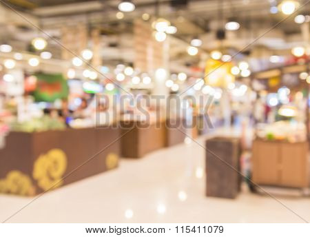 Abstract Blur Background Of Supermarket In The Shopping Mall