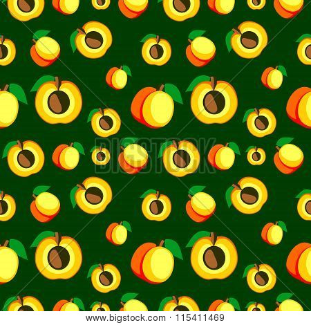 Seamless vector pattern bright fruits chaotic background with apricots whole and half over dark back