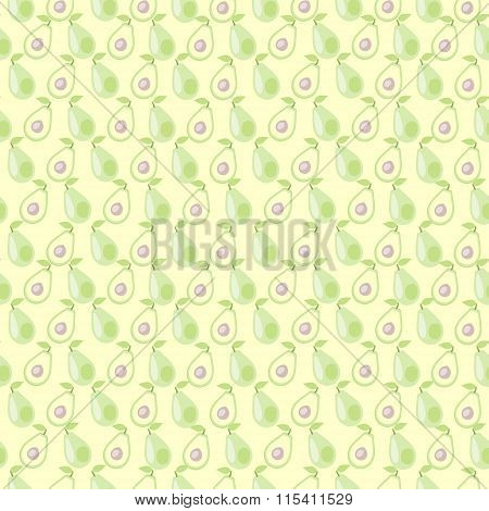 Seamless vector pattern mat symmetrical background with avocado whole and half over light backdrop.