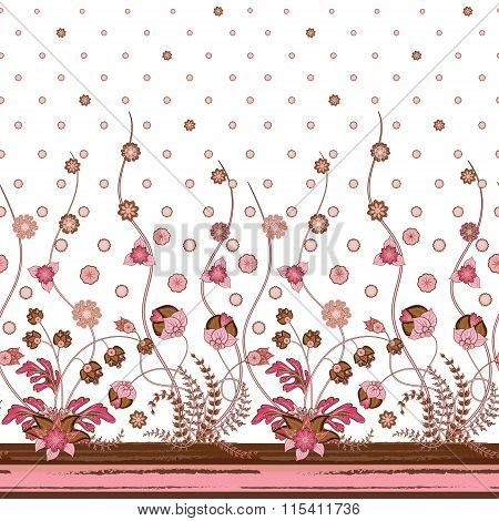 Vector seamless vertical pattern with Decorative ornament, hand drawn texture for clothes, bedclothes, invitation, card design etc.