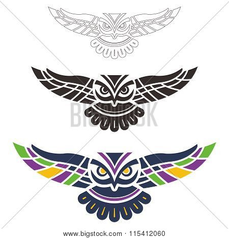 Vector Tribal Spread Wings Owl Illustration on white background