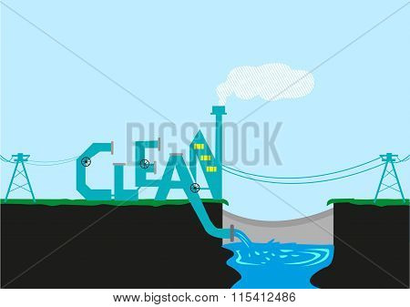 Treatment Plant or Factory Beside a Dam in stylized Clean typography. Editable Clip Art.