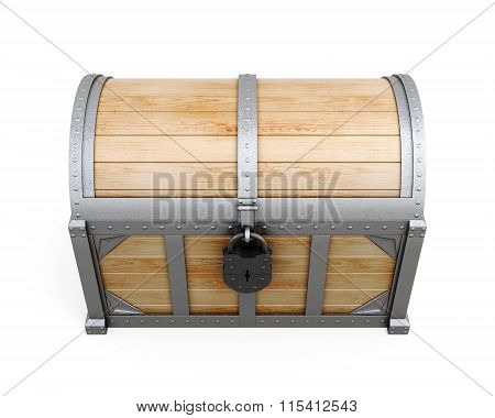 Old chest with lock isolated on a white background. The view fro