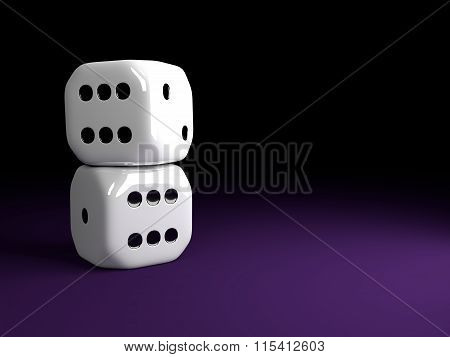 Two Shiny Dice Lying Over Violet Table