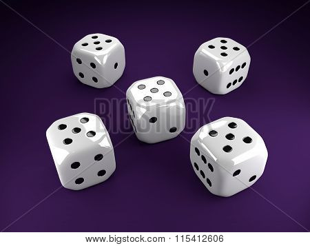 Five Dice Rolling Over Violet Table