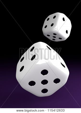 Two Dice Rolling Over Violet Table