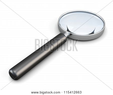 Magnifier with handle isolated on white background. 3d render im