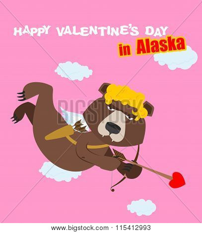 Happy Valentines Day. Bear Cupid With Bow. Angel Wild Beast. Animal In Yellow Curly Wig. Cupid From