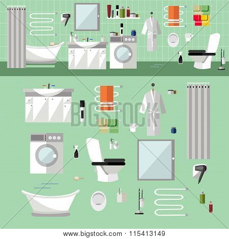 Bathroom interior with furniture. Vector illustration in flat style. Design elements, bathtub, washi