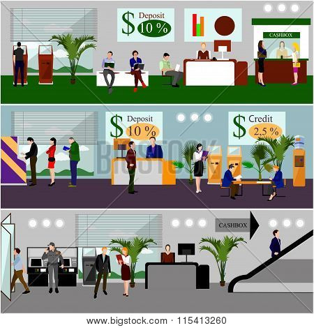 Horizontal vector banners with bank interiors. Finance and money concept. Flat cartoon illustration