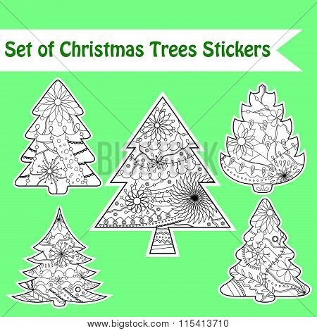 Set of christmas trees stickers