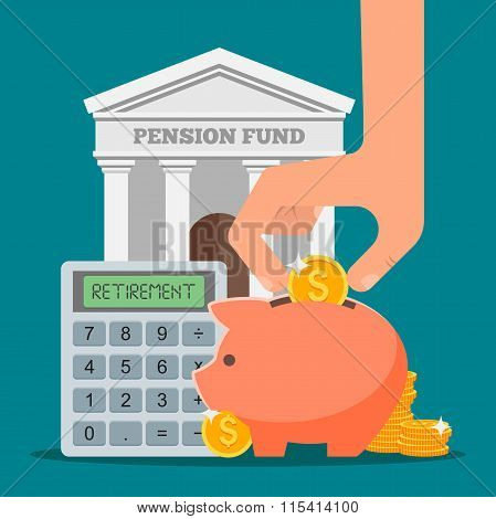 Pension fund concept vector illustration in flat style design. Finance investment and saving backgro