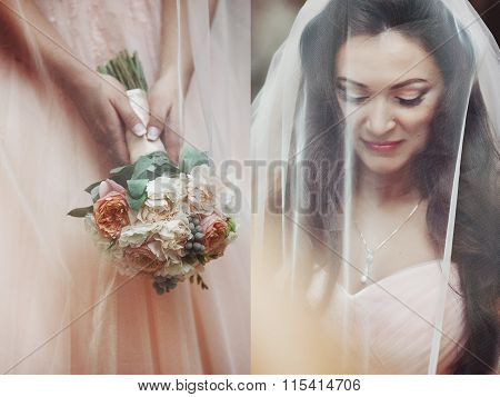Sensual Beautiful Brunette Bride Smiling And Hiding Under Her Veil Outdoors Collage