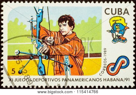 Archery On Postage Stamp