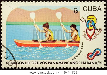 Women's Pair Kayak On Postage Stamp
