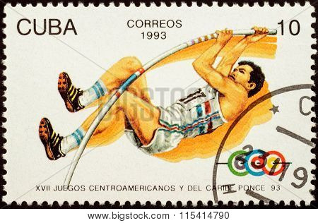 Pole Vault On Postage Stamp