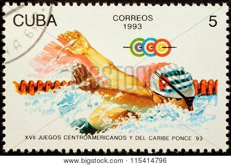 Swimmer In Swimming Pool On Postage Stamp