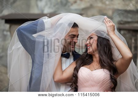 Cheerful Newlywed Couple, Bride And Groom, Having Fun And Smiling Under Veil
