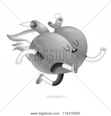 My heart burns for you - a dotted vector illustration of a running burning heart. Part of a Brain collection.