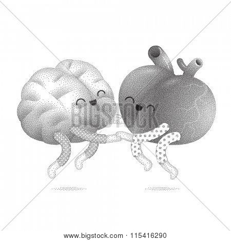 Pajama party - the dotted vector illustration of a brain and a heart wearing pajamas jumping together holding their hands. A part of Brain collection.