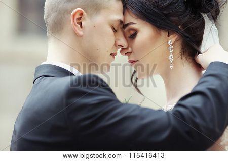 Closeup Of A Beautiful, Sensual Newlywed Couple Hugging And Touching Outdors