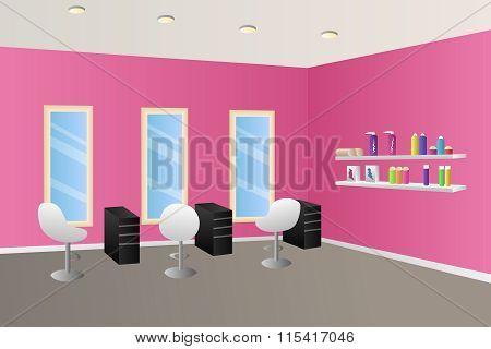 Hairdressing salon pink interior room illustration vector