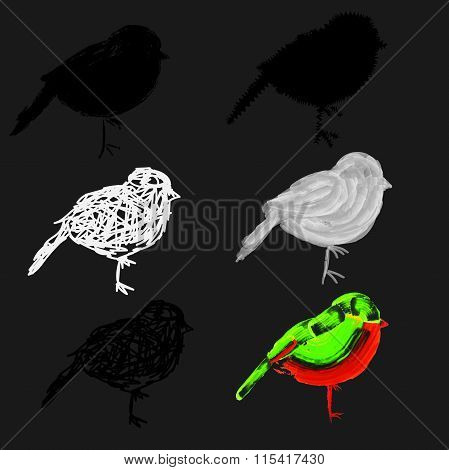different icons of little sparrows