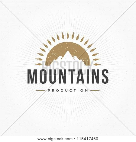 Mountain Hand Drawn Logo Template. Vector Design Element Vintage Style