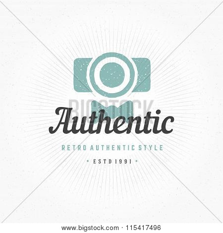 Photographer Hand Drawn Logo Template. Vector Design Element Vintage Style