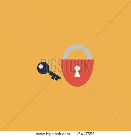 Padlock and key. Colorful vector icon. Simple retro color modern illustration pictogram. Collection concept symbol for infographic project and logo