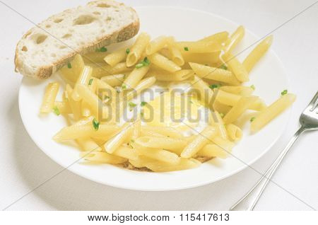 Penne Pasta With Fresh Herbs And Fried Eggs