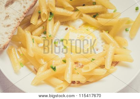 Fried Eggs With Penne Pasta And Ciabatta