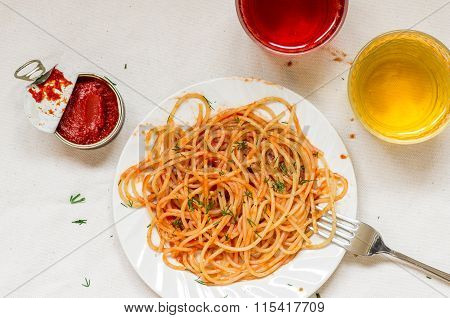 Plate Of Spaghetti Napoli With Wine