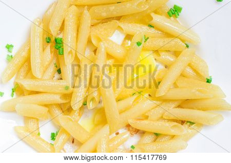 Italian Penne Pasta Dish With Greens And Eggs