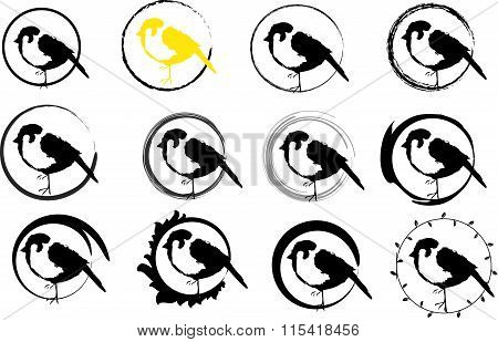 Sparrow icons inside the round (logo,vector,icons)