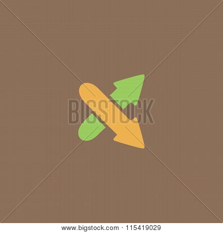 Two arrows. Direction sign. Flat design style