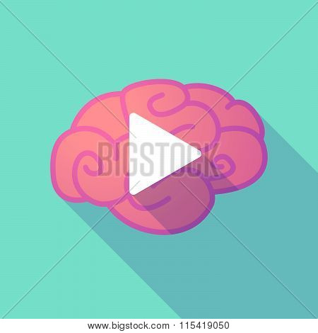 Long Shadow Brain With  A Play Sign