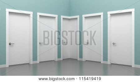 Doors white in the corner.