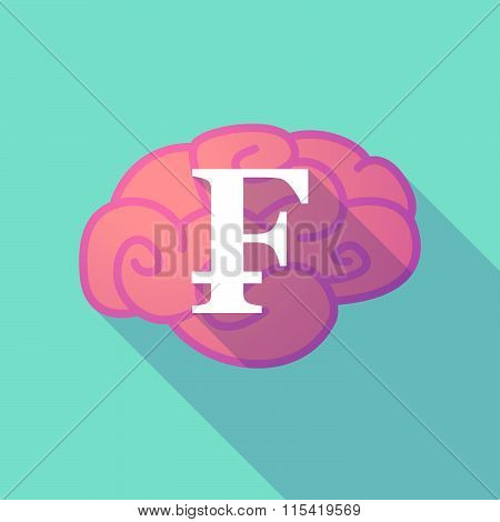 Long Shadow Brain With  A Swiss Franc Sign