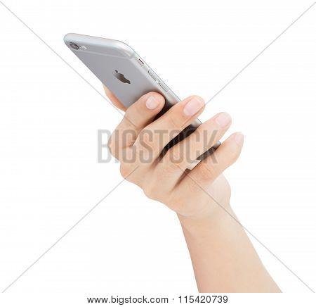Bangkok, Thailand - Jan 22, 2016 : Hand Holding Iphone 6 On White Background, Iphone Developed By Ap