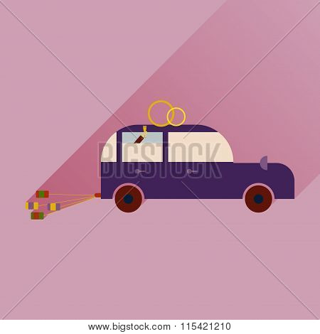 flat icon with long shadow wedding car