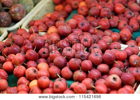 Hawthorn Fruits On A Market Shelf
