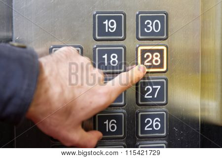 28 (twenty Eight) Floor Elevator Button With Light And Pushing Finger