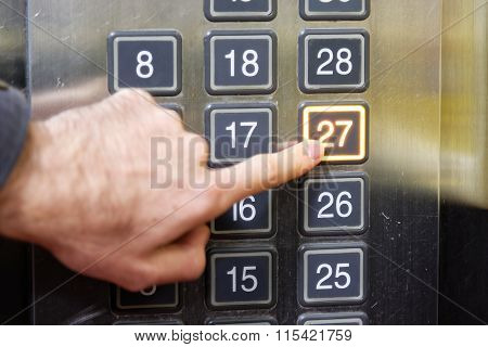 27 (twenty Seven) Floor Elevator Button With Light And Pushing Finger