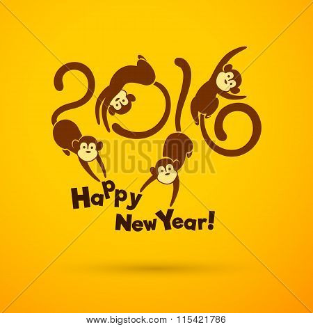 Year Of The Monkey,yellow Background
