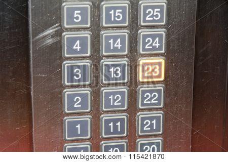23 (twenty Three) Floor Elevator Button With Light