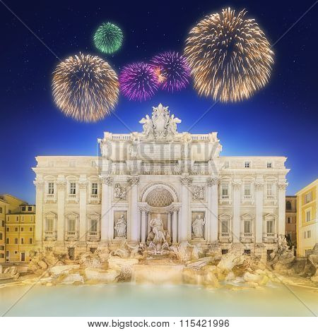 Trevi Fountain at night with beautiful fireworks