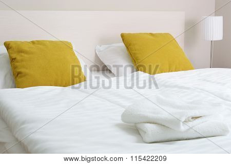 Double Bed In Hotel Room. Accommodation