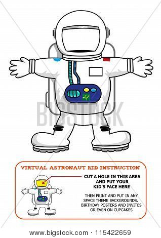 Astronaut Suit Cut Out Activity for Kids for Birthdays or Educational Games. Editable Clip Art. Put