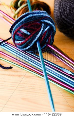 Knitting Needles With Ball Of Wool